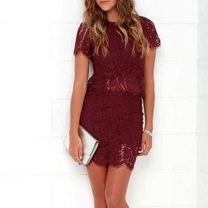 Lulu's Two Piece Burgundy Lace Dress